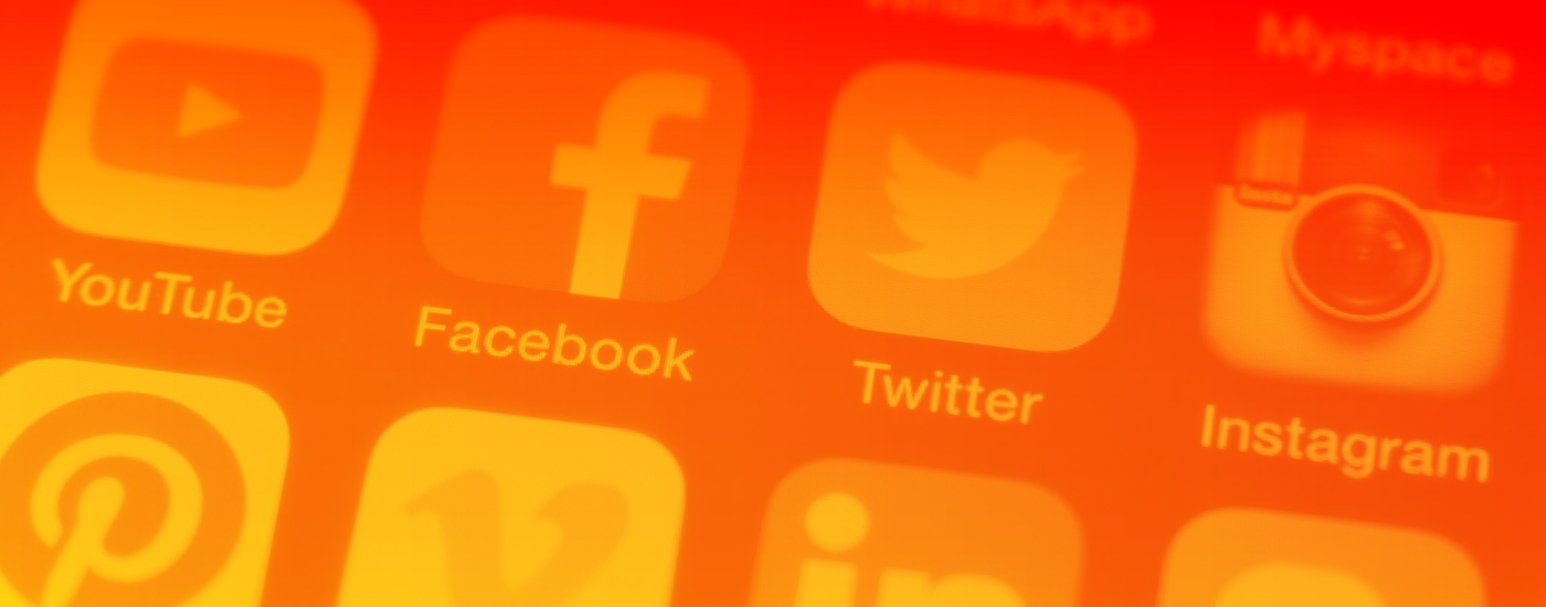 Social Media Icons Orange Header